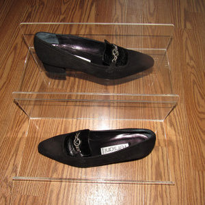 VERSANI Black Italian Leather Suede Shoes 8.5 AAA